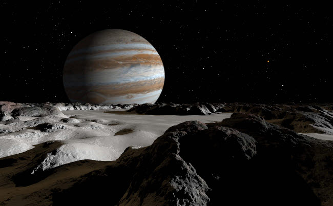 RMR100064S © Stocktrek Images, Inc. Jupiter's large moon, Europa, is covered by a thick crust of ice.