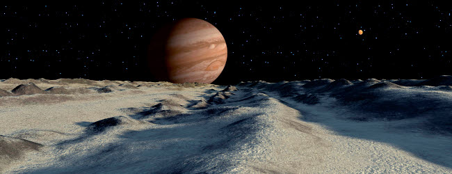 RMR100065S © Stocktrek Images, Inc. Jupiter's large moon, Europa, is covered by a thick crust of ice.