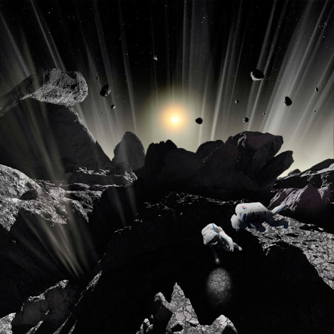 RMR100068S © Stocktrek Images, Inc. Astronauts explore the tumultuous surface of a comet.