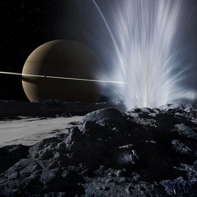 RMR100069S © Stocktrek Images, Inc. Explorers examine one of the great fissures from which Enceladus' geysers erupt.