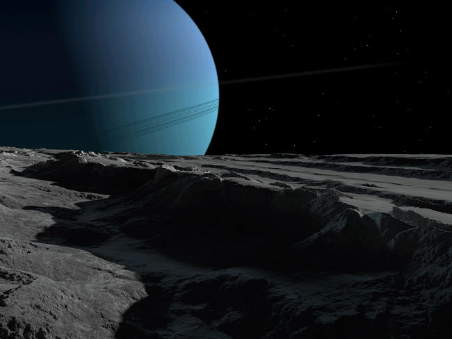 RMR100070S © Stocktrek Images, Inc. A scene on the tortured, wrinkled terrain of Miranda, one of Uranus' many moons.