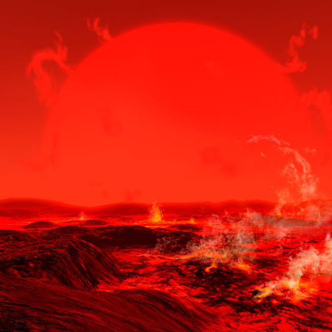 RMR100073S © Stocktrek Images, Inc. The sun seen from a molten earth 3 billion years from now.