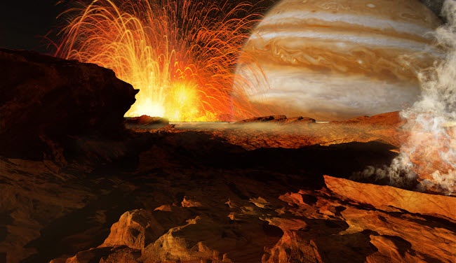 RMR100077S © Stocktrek Images, Inc. A scene on Jupiter's moon, Io, the most volcanic body in the solar system.