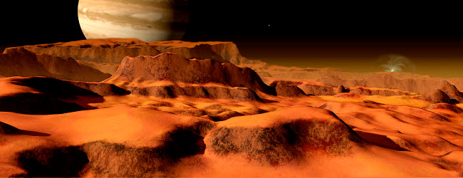 RMR100078S © Stocktrek Images, Inc. A panorama of the strange, mesa-like mountains on Io.