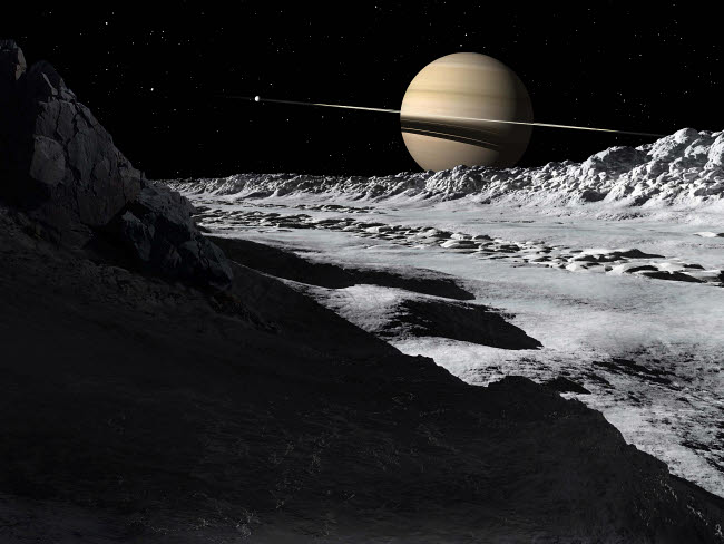 RMR100080S © Stocktrek Images, Inc. Saturn's moon, Tethys, is split by an enormous valley called Ithaca Chasma.
