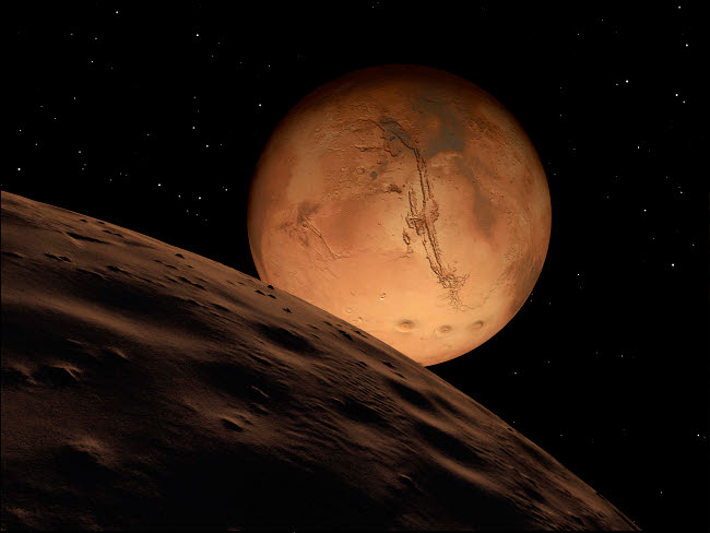 RMR100086S © Stocktrek Images, Inc. Mars seen from its outer moon, Deimos.