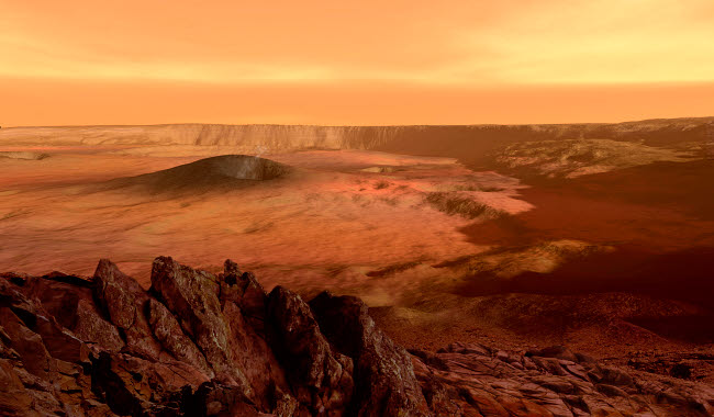 RMR100100S © Stocktrek Images, Inc. The view from the rim of the caldera of Olympus Mons on Mars.