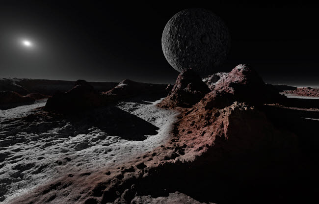 RMR100105S © Stocktrek Images, Inc. A scene on Pluto with Charon, its giant moon.