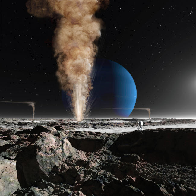 RMR100130S © Stocktrek Images, Inc. An astronaut observes the eruption of one of Triton's giant cryogeysers.