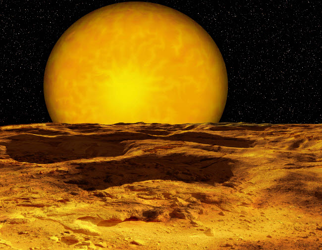 RMR100131S © Stocktrek Images, Inc. A scene on a moon of Upsilon Andromeda b, a recently discovered extrasolar planet.