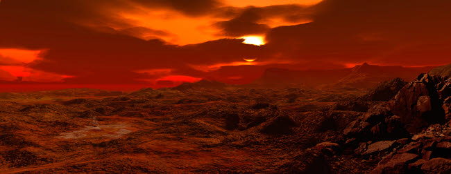 RMR100133S © Stocktrek Images, Inc. Panorama of a landscape on Venus.