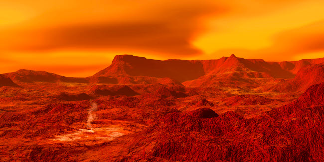 RMR100134S © Stocktrek Images, Inc. Panorama of a landscape on Venus at 700 degress Fahrenheit.