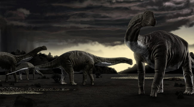 RNG600006P © Stocktrek Images, Inc. Titanosaurs in the first storm of the year.