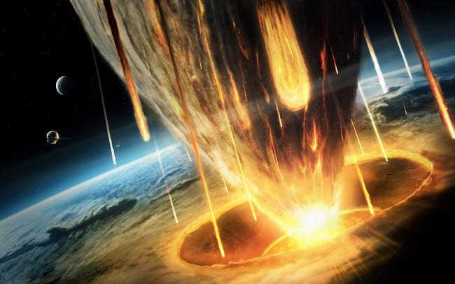 ROE100004S © Stocktrek Images, Inc. A giant asteroid collides with planet Earth.
