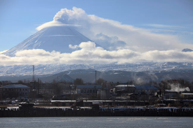 RRS300568S © Stocktrek Images, Inc. Eruption of Kliuchevskoi Volcano, Kamchatka, Russia.