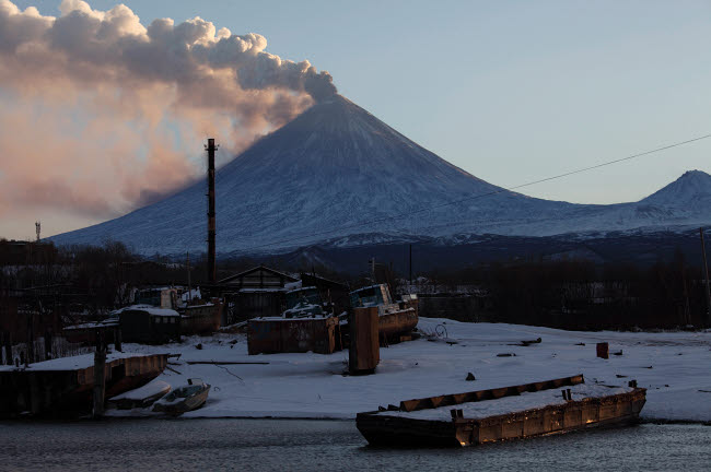 RRS300574S © Stocktrek Images, Inc. Eruption of Kliuchevskoi Volcano, Kamchatka, Russia.