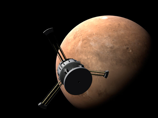 RTA200003S © Stocktrek Images, Inc. Orion-drive spacecraft approaching Mars.