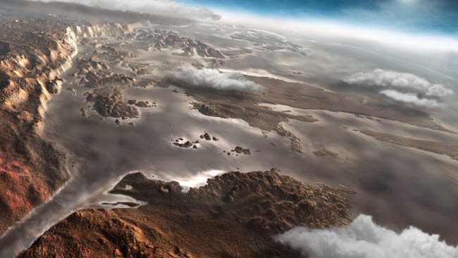 SHB100001S © Stocktrek Images, Inc. A flooded Aram Chaos region on the planet Mars.