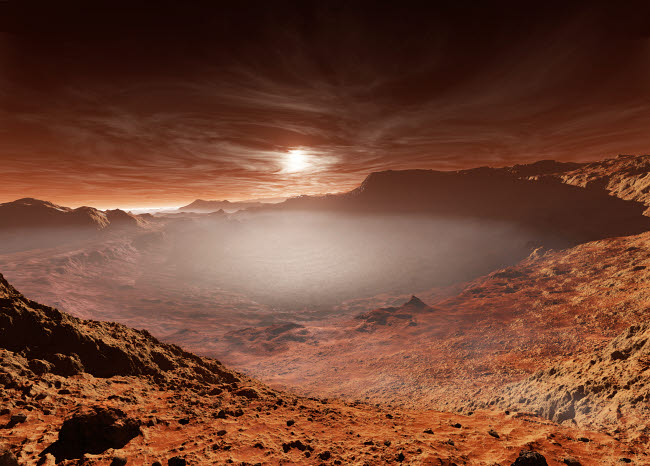 SHB100005S © Stocktrek Images, Inc. The sun sets over the Eberswalde region of Mars.