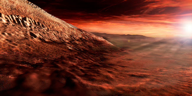 SHB100006S © Stocktrek Images, Inc. Dark dunes march along the floor of Gale Crater, Mars.