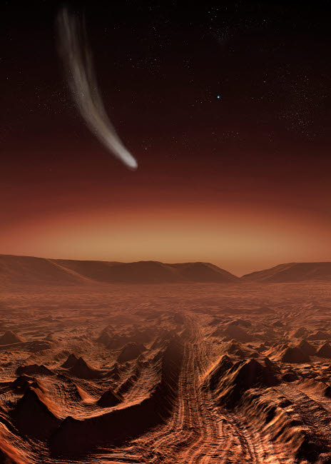 SHB100014S © Stocktrek Images, Inc. A comet lights up the landscape of Candor Chasma over Mars.