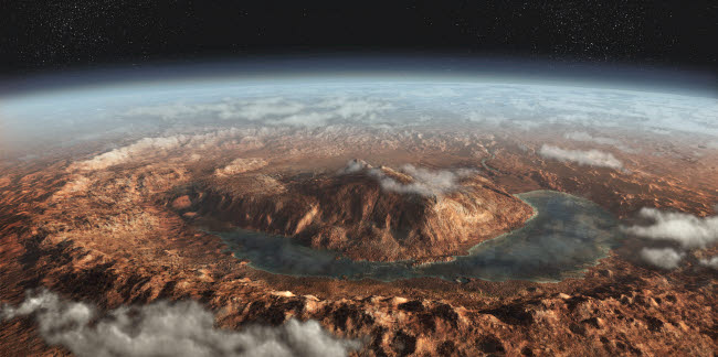SHB100022S © Stocktrek Images, Inc. Artist's concept showing a lake of liquid water around Gale Crater on Mars.