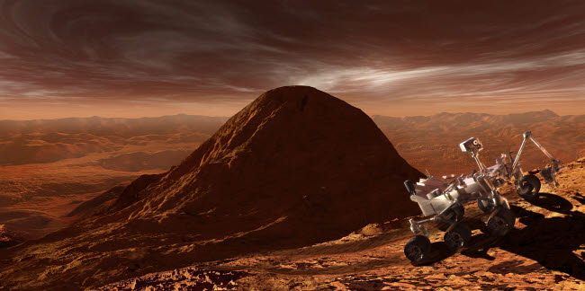 SHB100027S © Stocktrek Images, Inc. NASA's Curiosity rover climbing to the summit of Mount Sharp.