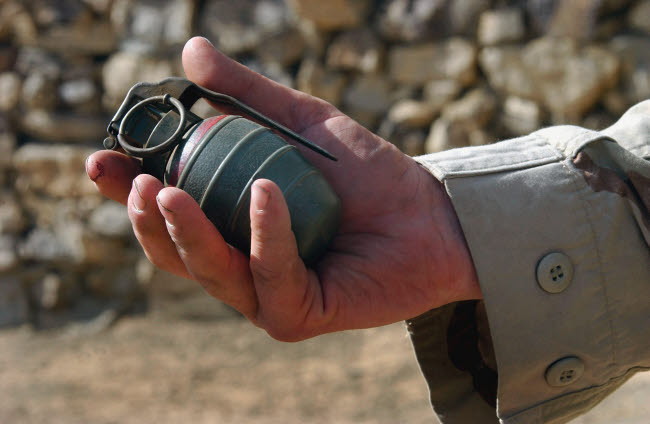 STK102368M © Stocktrek Images, Inc. An Arges Type HG-84 fragmentation grenade.