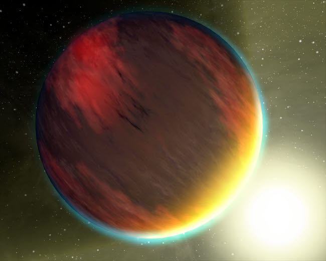 STK201433S © Stocktrek Images, Inc. A cloudy Jupiter-like planet that orbits very close to its fiery hot star.