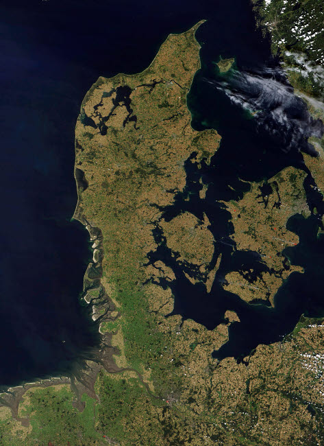 STK201847S © Stocktrek Images, Inc. Satellite view of Denmark.