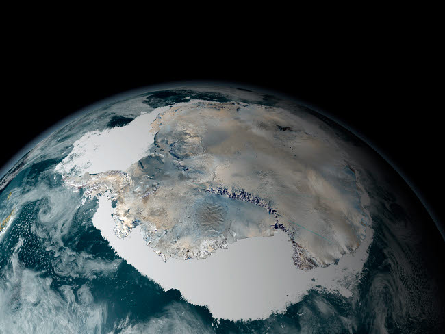 STK202091S © Stocktrek Images, Inc. The frozen continent of Antarctica and its surrounding sea ice.