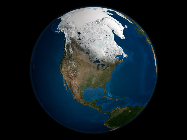 STK202102S © Stocktrek Images, Inc. A global view over North America with Arctic sea ice