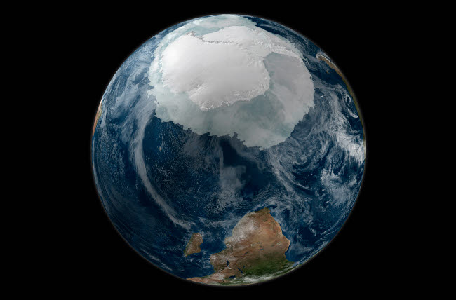STK202106S © Stocktrek Images, Inc. A view of the Earth with the full Antarctic region visible.