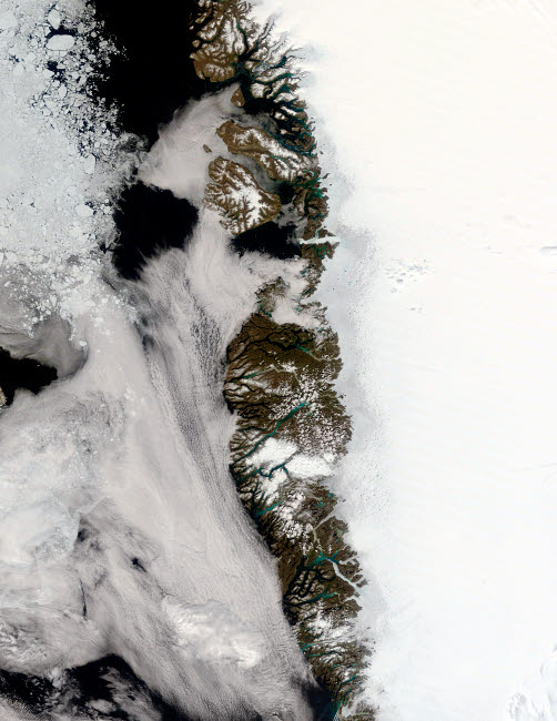 STK202107S © Stocktrek Images, Inc. Meltwater ponds along Greenland West Coast.