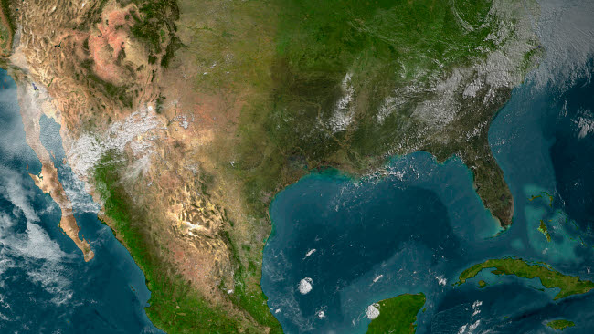 STK202121S © Stocktrek Images, Inc. View of Southern United States and Mexico.