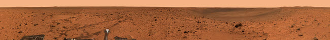 STK202257S © Stocktrek Images, Inc. Panoramic view of Bonneville Crater on surface of Mars.