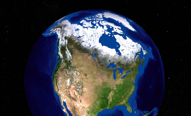 STK202331S © Stocktrek Images, Inc. The Blue Marble Next Generation Earth showing the United States, Canada and Greenland.