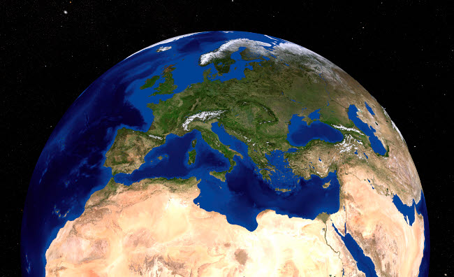 STK202333S © Stocktrek Images, Inc. The Blue Marble Next Generation Earth  showing the Mediterranean Sea.