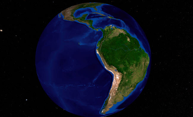 STK202334S © Stocktrek Images, Inc. The Blue Marble Next Generation Earth showing South America.