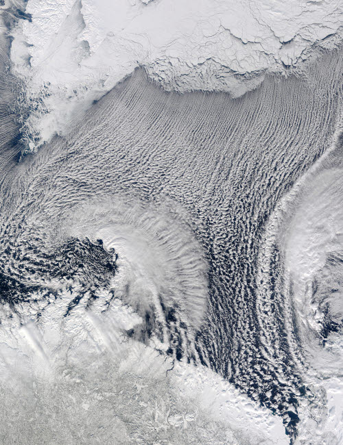 STK202625S © Stocktrek Images, Inc. Unusual cloud formations over the Barents Sea.