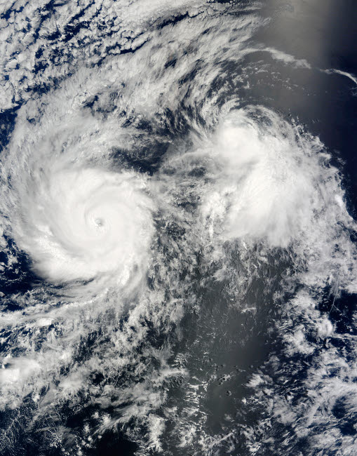STK202821S © Stocktrek Images, Inc. Hurricane Felicia and Tropical Storm Enrique east of Hawaii.