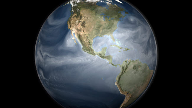 STK203176S © Stocktrek Images, Inc. Full Earth view showing water vapor over the Americas.