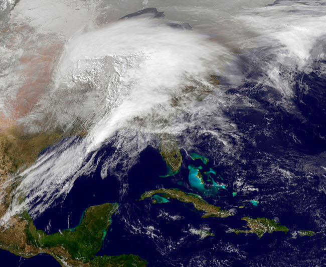 STK203543S © Stocktrek Images, Inc. Satellite view of a massive winter storm over the United States.