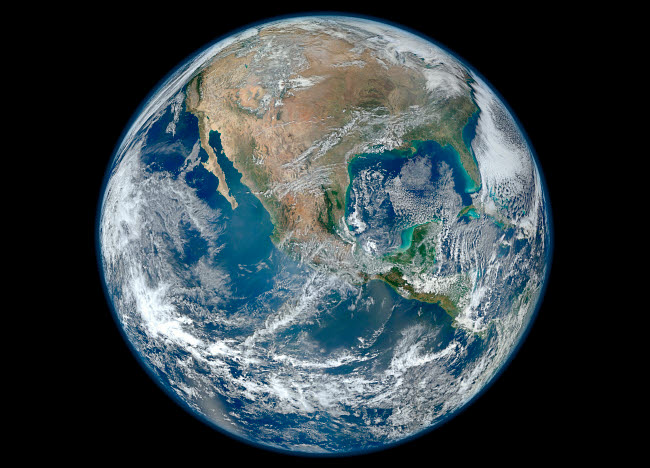 STK203721S © Stocktrek Images, Inc. Full Earth showing North America and Mexico.