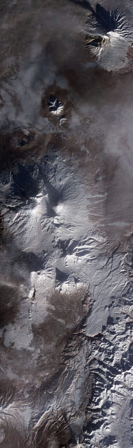 STK204171S © Stocktrek Images, Inc. Satellite view of Russia's Kamchatka Peninsula.