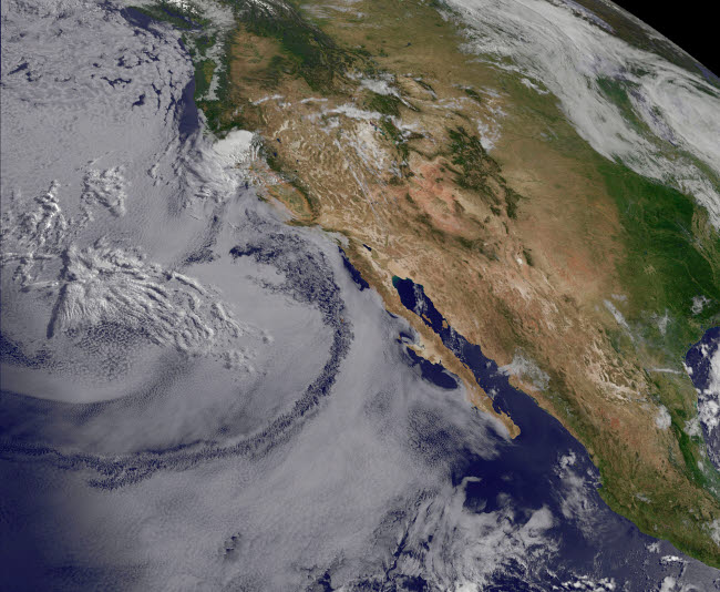 STK204233S © Stocktrek Images, Inc. Satellite view of the Southern California June Gloom.