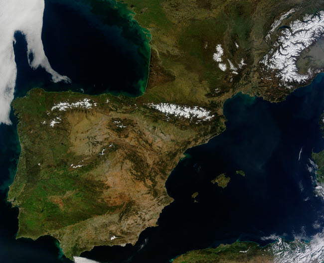 STK204312S © Stocktrek Images, Inc. Satellite view of Spain, Portugal, Andorra, and southern France.