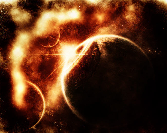 TDB100010S © Stocktrek Images, Inc. Apocalyptic view of a solar system.