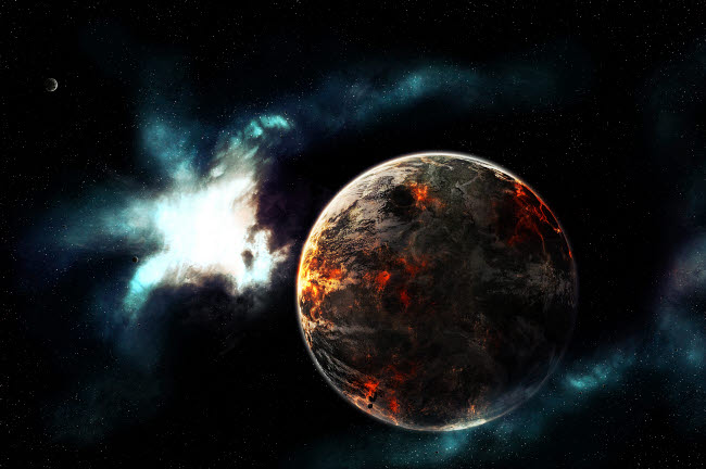 TDB100017S © Stocktrek Images, Inc. A planet harvested off it's resources and left for dead on it's own.