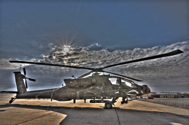 TMO100012M © Stocktrek Images, Inc. High dynamic range photo of an  AH-64D Apache Longbow Block III attack helicopter.